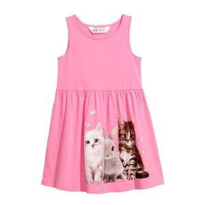 NWT H&M Pink Cats/Bunnies Summer Dress 18-24mo